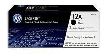 2Pk Noir HP 12 A original LASERJET Cartouche de Toner Double Pack