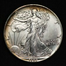 1987 1 oz AMERICAN EAGLE $1 SILVER DOLLAR, ORIGINAL TONING LOT#S796