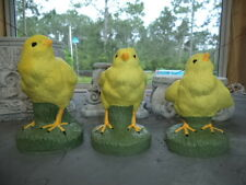 SET OF 3 PAINTED YELLOW BABY CHICKEN (S) PEEPS HATCHLINGS GRAY CEMENT STATUE