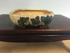 Rare Daisuke Sano Hand Painted 'flowers' Mame Shohin Size Bonsai Tree Pot 2 3/4
