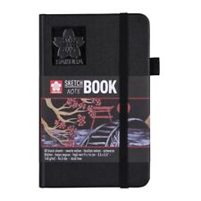 SAKURA Hardback Sketchbook Notebook 80 Sheets Black paper 140g Black Cover