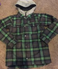 EUC Burton Boy's Uproar Snowboard Jacket Mike Plaid Green Navy Blue Size Medium