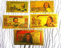 """COLLECTION COMPLETE 5 BILLETS POLYMER  """" OR """" COULEURS TYPE 1958 ★ R4"""