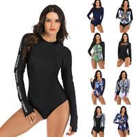 Women One Piece Swimsuit Long Sleeve Rash Guard UPF50+ Swimwear Bathing Suit