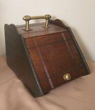 Antique 1800's handmade English Brass wood Coal Ash Box Bin Hod Scuttle bucket