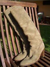 Stivali VERA PELLE CAMOSCIO beige e VERO CUOIO N°38 Genuine chamois boots