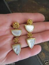 Designer $240 + 18k Gold Plated Sterling Mother of Pearl Inlay Dangle Earrings