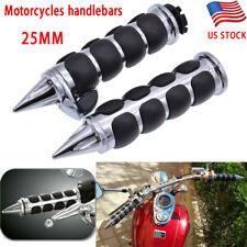 """2 X Chrome+Black Motorcycles ATV Handlebar End Grips For 1""""(25mm)Left/Right Grip"""