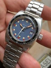 Vintage Stima Nivada Blue Dial Steel Mens Diver Watch Automatic ETA 2782 37,2mm