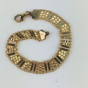 Designer Signed PREX Gold over 925 Sterling Silver Wide Unique Link Bracelet 7.5