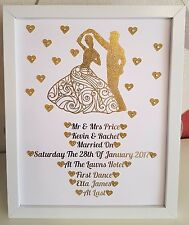 Personalised Framed Wedding First Dance Handmade Picture Gift Gold/Silver