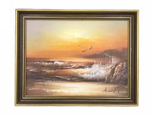 Vintage Seascape at Sunset - Original Oil on Board Artwork