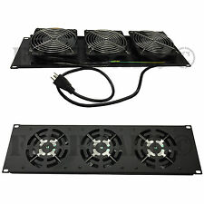 "3 Fan (120mm) 19"" Rack Mount Cooling Panel System DJ Rack Case Server Cabinet 3U"