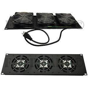 """3 Fan 19"""" Rack Mount Cooling Panel System DJ Rack Case Server Cabinet 3U 110V"""