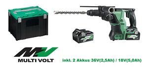 Hikoki Hitachi Akku Bohr- u Meißelhammer DH36DPA + 2 MultiVolt Akkus 36V/18V