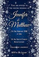 10 x FROZEN WINTER WEDDING INVITATIONS - CHRISTMAS WEDDING SNOWFLAKES