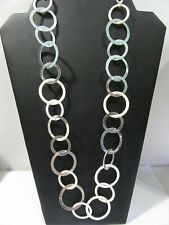 SILVER TONE AND WHITE PLASTIC CONTEMPORARY MODERN HOOP LOOP LINK NECKLACE