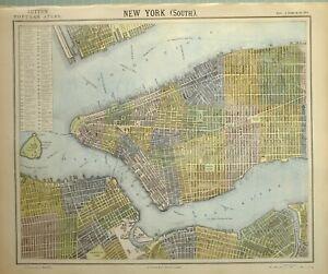 1883 LETTS MAP CITY PLAN NEW YORK SOUTH FORT COLUMBUS BATTERY HOSPITAL COB DOCK