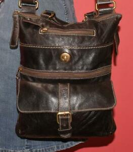 ROOTS Black VENETIAN VILLAGE Prince Leather Cross-Body Purse Bag Rugged CANADA