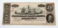 1864 Confederate States of America $20 Note in VF Condition