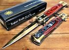 "8.75"" Italian Milano Stiletto Damascus Spring Assisted Open Pocket Knife - GDWRD"