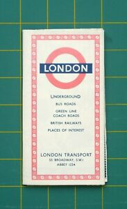 1956 London Transport Underground, Bus Roads, Green Line & Coach Roads Map