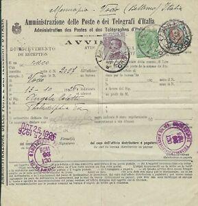 VODO (8-87) -13-10-1926-AVVISO DI RICEVIMENTO PER USA CON AFFRANCATURA TRICOLORE