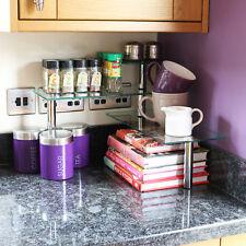 Kitchen/Office 3 Tier Glass Corner Worktop Organiser Desk/Shelf Tidy Spice/Herb