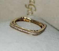 Ross Simons 18k Yellow Gold Vermeil sterling silver square cz eternity ring