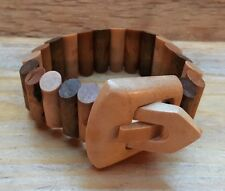 Fab Kitsch Wood Effect Bracelet/Chunky Early Plastic Style/Brown/Statement/Retro