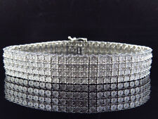 Mens Pave White Gold Finish Round Cut Real 4 Row 17 Mm Diamond Bracelet 8.5 Inch