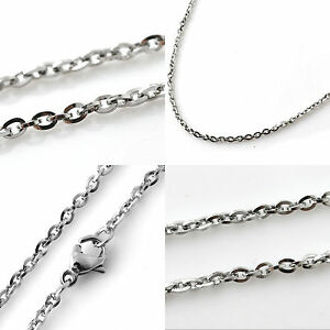"""2mm Stainless Steel Chain - 16"""" to 36"""" Long Mens Womens Belcher Silver Necklace"""