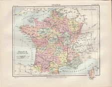 France in Provinces Europe Original colour map 1875 W & A K Johnston