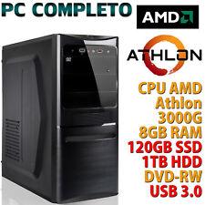 PC COMPUTER DESKTOP AMD ATHLON 3000G RAM 8GB SSD 120GB HDD 1TB HDMI WINDOWS 10