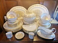 """STUNNING QUALITY Hand Enamelled UNUSED Tuscan """"LOUISE"""" 56 pc DINNER SET for 8"""