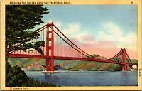 Vtg 1940's Golden Gate Bridge San Francisco California CA Postcard