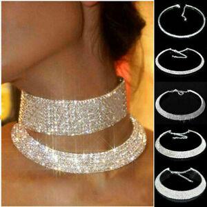 Diamonds Crystal Rhinestone Necklace Choker Wedding Party Chain Jewellery