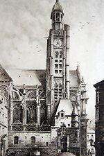 KRIEGER BELA GYULA. Saint Etienne du Mont. Eau forte originale. Dimensions de la