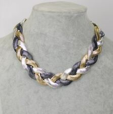 monet signed jewelry huge gold plate necklace silver tone black free shipping