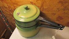 Antique Green & Yellow Enamelware Double Boiler