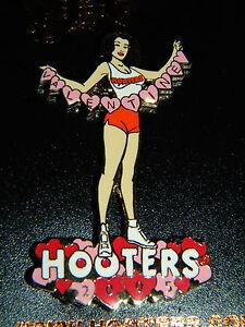 Hooters Girl Pin Happy Valentine's Day Sexy Brunette Enamel Lapel Brooch 2005