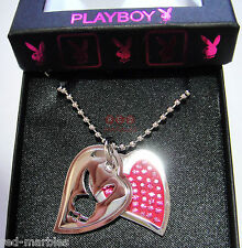 Genuine Playboy Jewellery. New. Bunny & Pink Heart Pendants. Swarovski Crystals.
