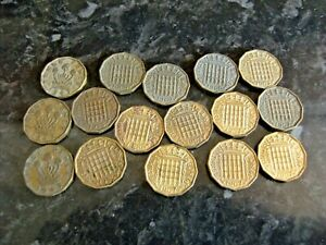 Old Three Pence Pieces 1940- 1960s lot x 16