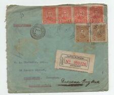 ASSUNCION PARAGUAY 5/8/1930 RARE DESTINATION REGISTRED COVER TO BRITISH GUYANA