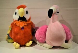 SOFT TOY LARGE MACAW PARROT 27 cm TALL FLAMINGO 52 cm tall SITTING 30 cm