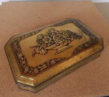 Art nouveau S.Henderson & Sons Biscuit tin embossed goldtone design .