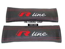 "2x Seat Belt Covers Pads Leather ""R-line"" Red Embroidery For Volkswagen"