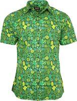 Run & Fly Mens Kitsch Green Cacti Print Short Sleeved Shirt VTG Retro Hawaiian