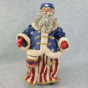 Kurt S Adler Patriotic Santa Old World Figure Fabric Mache Stars Stripe Pls Read