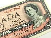 1954 Canada 2 Dollar Circulated AG Replacement Bouey Rasminsky Banknote R169